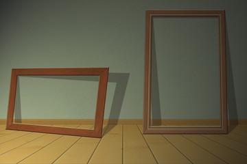 Vintage interior decor with wooden frame