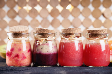 Jars with smoothies