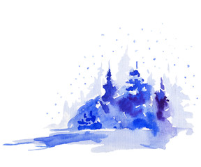 Christmas watercolor greeting card with winter landscape