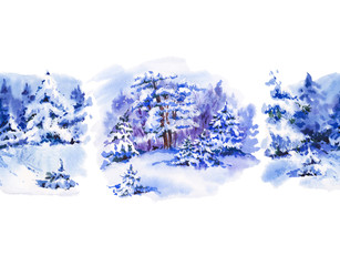 Watercolor seamless border with winter landscape