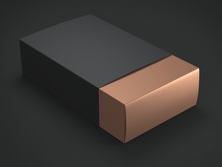 Gold Box with Black cover. 3d rendering