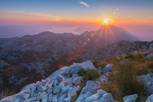 Sunset over the Adriatic sea. View from Mountain
