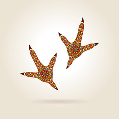 Footprint Stylized Rooster in Color