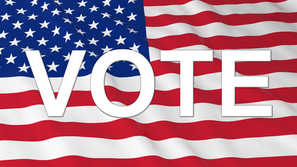 US Elections - Vote Text on US Flag 3D Illustration