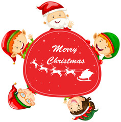 Christmas card template with Santa and elves