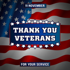 Thank you veterans, illustration for the holiday Veterans Day, American Flag, blue background, stars.