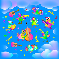 Background with birds playing different instruments, vector cartoon image.
