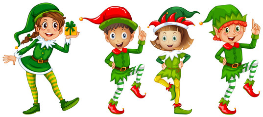 Christmas elf in green costume Wall mural
