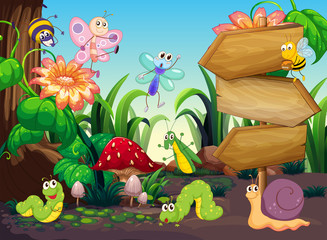 Scene with different types of bugs