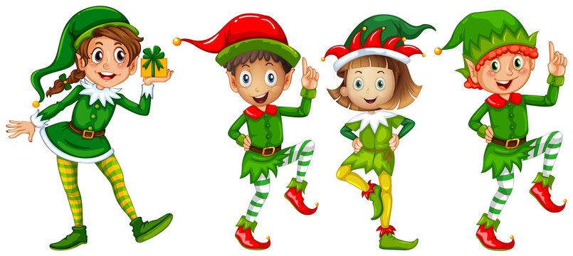 Christmas elf in green costume