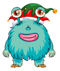 Blue monster wearing christmas hat