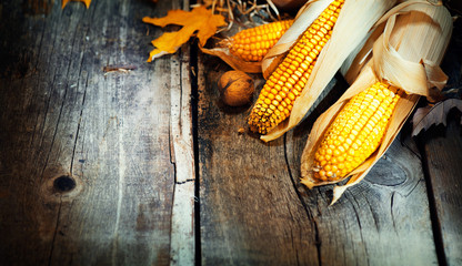 Thanksgiving Day. Wooden table decorated with corncobs and leaves background