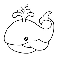 whale / cartoon vector and illustration, black and white, hand drawn, sketch style, isolated on white background.