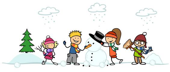 Cartoon Kinder bauen Schneemann
