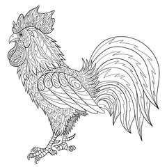 Adult coloring book with rooster. Hand drawn doodle cock vector illustration.