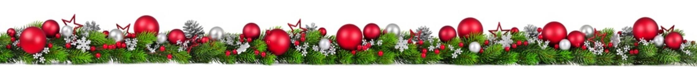 Weihnachten Bordüre, rot und silber geschmückte Girlande auf weiß, extra breit