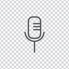 Microphone icon vector, clip art. Also useful as logo, web UI element, symbol, graphic image, transparent silhouette and illustration.