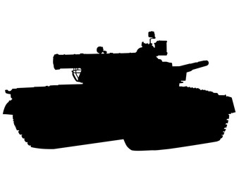 Wall Mural - Big military tank on white background