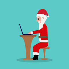 Cartoon Santa Claus sits in a chair for a laptop