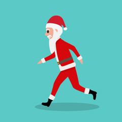 Cartoon Santa Claus runs to children at Christmas
