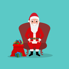 Cartoon Santa Claus sits in chair with bag gifts