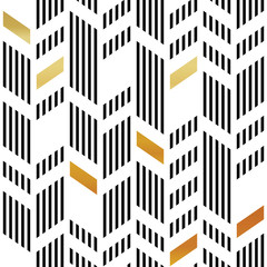 Seamless Gold and Black Chevron Pattern. Art Deco Abstract Backg