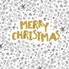 Merry Christmas gold lettering on black hand-drawn xmas themed p