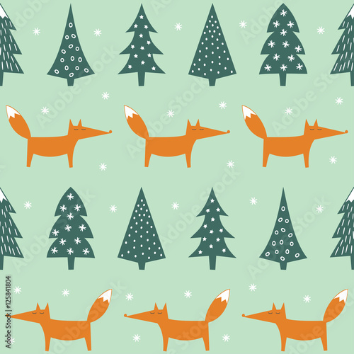 Fox Xmas Trees And Snowflakes Seamless Pattern Cute Forest Background Simple Vector Winter
