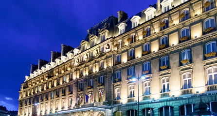 PARIS, FRANCE APRIL 23. Main facade of the Hotel Hilton Paris Opera. In the Rue Saint Lazare. One of the most famous hotels in Paris near Saint Lazare station   Wall mural