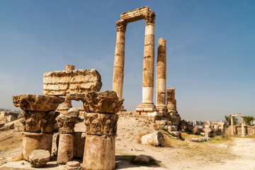 ruins of the Hercules temple on Amman, Jordan.