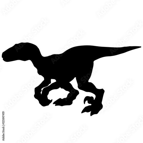 """""""Black vector illustration silhouette of velociraptor ..."""