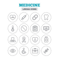 Medicine icons. Syringe, heartbeat and pills symbols. Tooth health, eye and blood donate. Awareness ribbon. Round flat buttons with linear icons. Vector