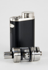 E-cigarette or vaping device. Black and steel.