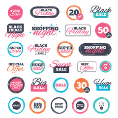 Sale shopping stickers and banners. Sale icons. Special offer speech bubbles symbols. Big sale and best price shopping signs. Website badges. Black friday. Vector