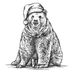 Aluminium Prints Christmas Brown bear, black and white engrave. Christmas hat.