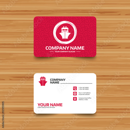 business card template with texture ship or boat sign icon