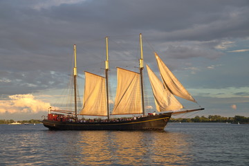 Tall ship on the Ontario lake.