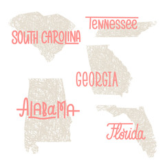 South Carolina, Tennessee, Georgia, Alabama, Florida USA state o