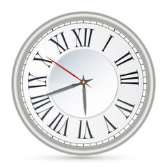 Vector illustration of old-fashioned clock with Roman numerals