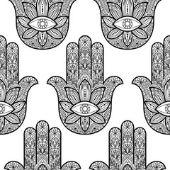 Hamsa Hand of Fatima Seamless Pattern