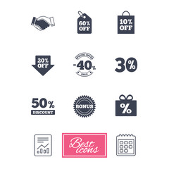 Sale discounts icon. Shopping, handshake and bonus signs. 20, 30, 40 and 50 percent off. Special offer symbols. Report document, calendar icons. Vector