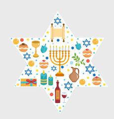 Set icons of Hanukkah, Happy Hanukkah. Hanukkah greeting card. Cartoon icons flat style. Traditional symbols of Jewish culture. Vector illustration.