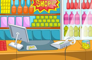 Cartoon background of supermarket.