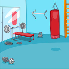 Cartoon background of gym room.