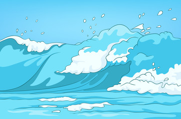 Cartoon background of sea landscape.
