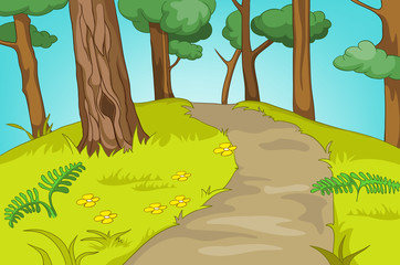 Cartoon background of forest landscape.