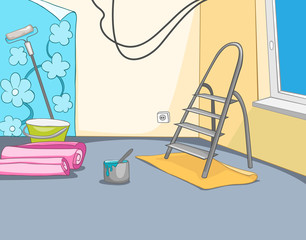 Cartoon background of apartment renovation.