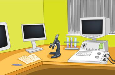 Cartoon background of physics laboratory.