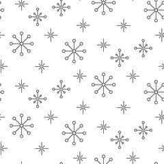 Vintage snowflake simple seamless pattern. Thin line black and white winter holiday vector pattern.