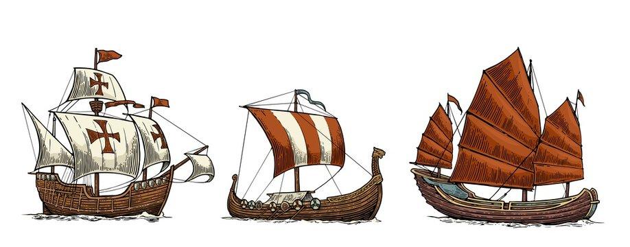 Caravel, drakkar, junk. Set sailing ships floating sea waves.